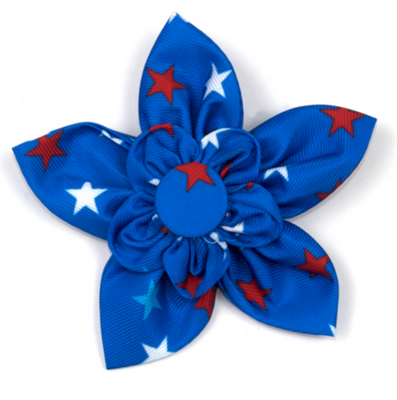 Patriotic Stars Dog Collar Flower - Le Pet Luxe