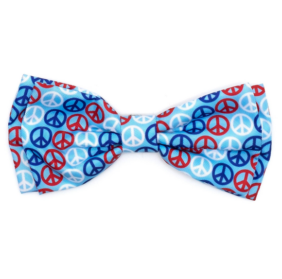 Red/White/Blue Dog Peace Bow Tie - Le Pet Luxe