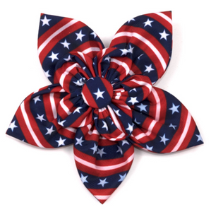 Stars and Stripes Dog Collar Flower - Le Pet Luxe