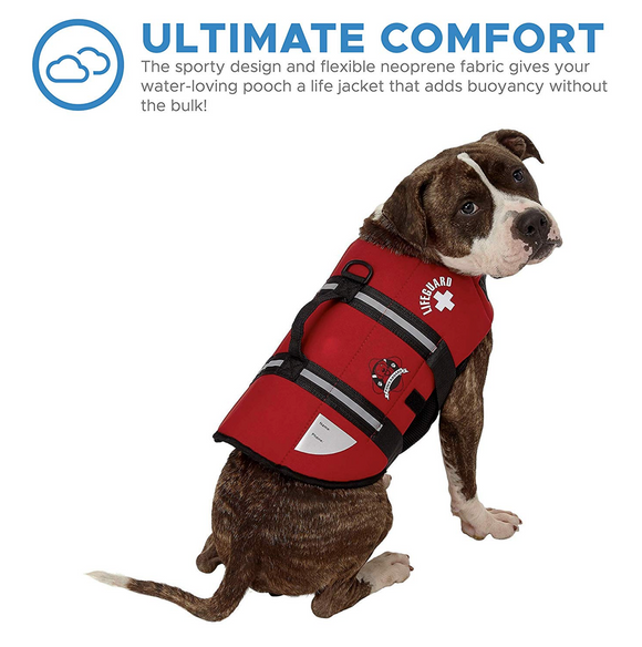 Dog Life Jacket ~ Red Neoprene - Le Pet Luxe