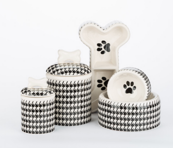 Houndstooth Ceramic Bowls & Treat Jars - Le Pet Luxe
