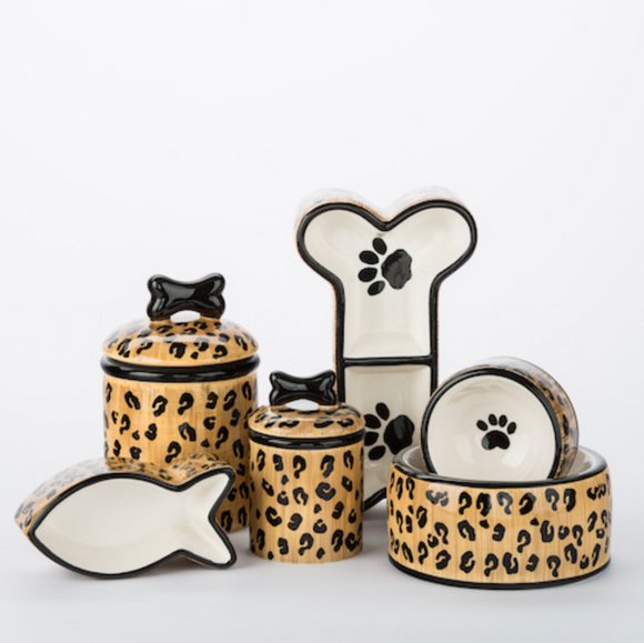 Leopard Ceramic Bowls & Treat Jars - Le Pet Luxe