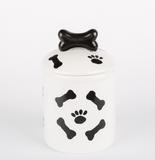 Black and White Ceramic Paws Bowls & Treat Jars - Le Pet Luxe
