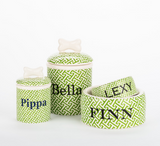 Personalized Trellis Bowls and Treat Jars Collection - Le Pet Luxe
