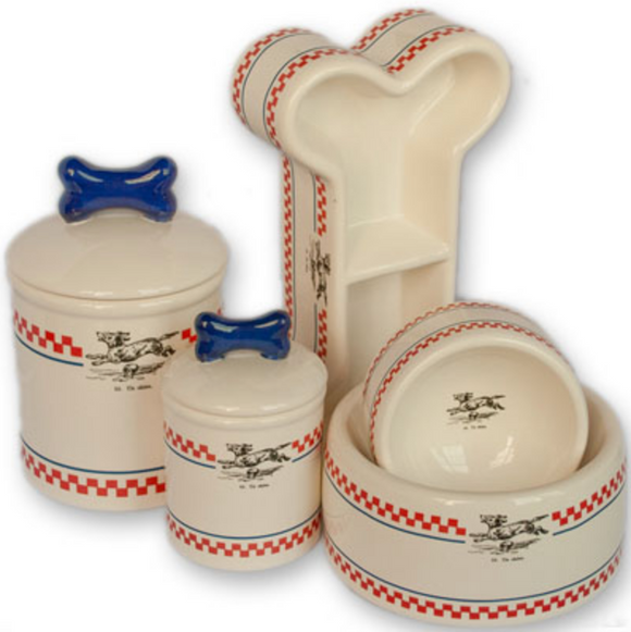 French Bistro Ceramic Bowls & Treat Jars - Le Pet Luxe