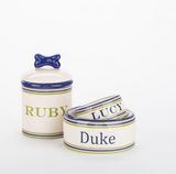 Personalized Preppy Stripe Bowls and Treat Jars Collection - Le Pet Luxe