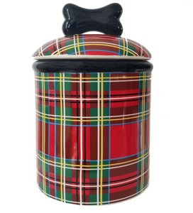 Stewart Plaid Ceramic Bowls and Treat Jars Collection - Le Pet Luxe