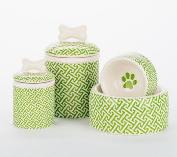 Green Trellis Bowls and Treat Jars Collection - Le Pet Luxe
