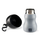 Two Stainless Steel Dog Water Bottles for small dogs, 9.5 Oz (Black & Grey) - Le Pet Luxe
