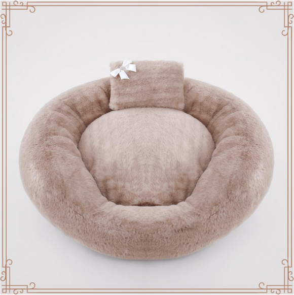 Teddy Bear ~ Round Dog Bed - Le Pet Luxe