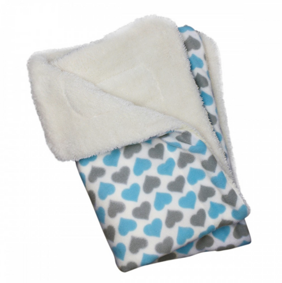 Blue and Gray Hearts Fleece Blanket - Le Pet Luxe