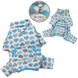 Blue and Gray Hearts Fleece Turtleneck Pajamas - Le Pet Luxe