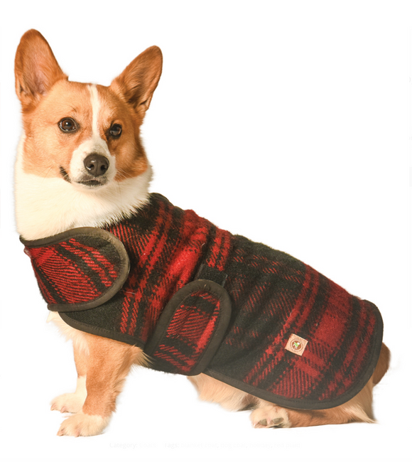 Red and Black Plaid Blanket Dog Coat - Le Pet Luxe