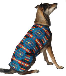 Turquoise Southwest Dog Blanket Coat - Le Pet Luxe