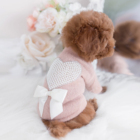 Valentine Pearl Heart Dog Sweater