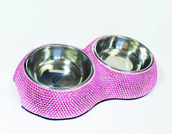 Crystal Dining Bowl ~ Pink - Le Pet Luxe