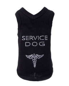 Service Dog Tank ~ Black - Le Pet Luxe