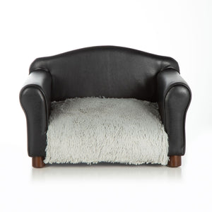 Traditional Chair Dog Bed ~ Black Faux Leather with Shaggy Grey - Le Pet Luxe