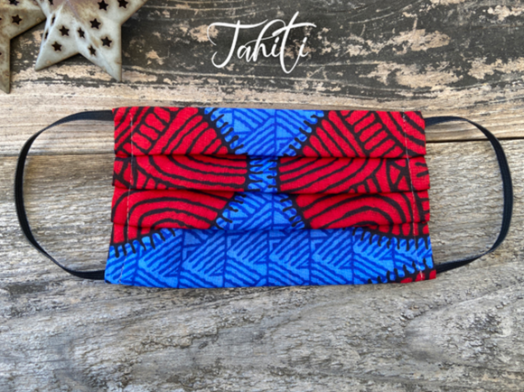 Reusable Fabric Face Mask with Pocket for Filter ~ Tahiti Design - Le Pet Luxe