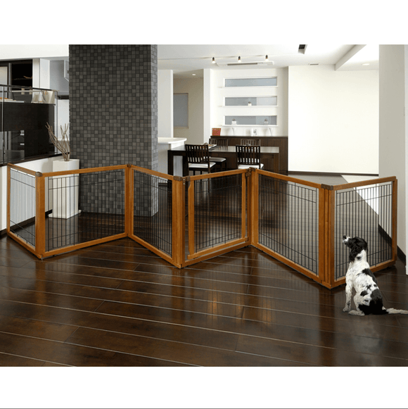 Convertible Elite Pet Gate 6-Panel 31.5″H Convertible Elite Pet Gate Richell 6-Panel 31.5″H Autumn Matte