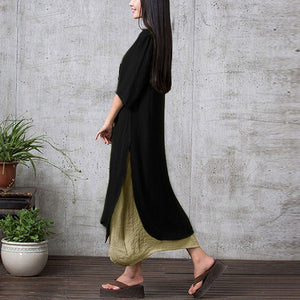2018 Autumn Dress Women Plus Size 3XL 4XL 5XL Vintage Dress Bohemian Irregular Hem Casual Boho Long Maxi Dress Beach robe female-lilugal