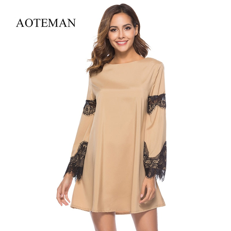 299ca42995173 AOTEMAN Casual Autumn Summer Dress Women New Sexy Hollow Out Lace Patchwork Sleeve  Dress Vintage Elegant
