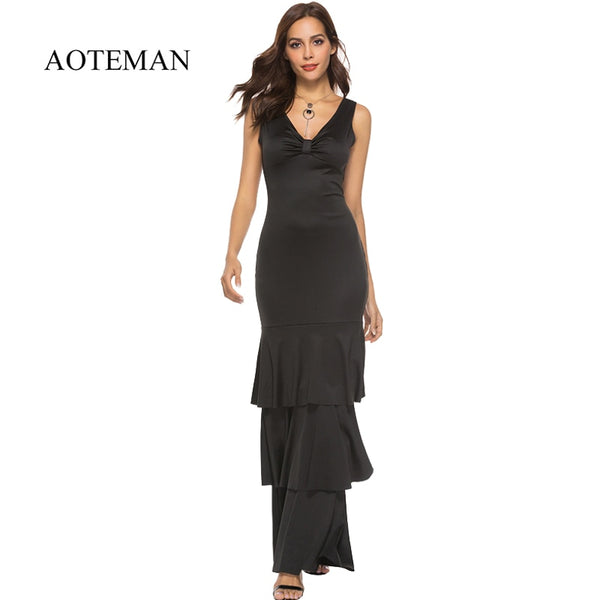 Aoteman Summer Dress Women Fashion Sexy Solid Elegant Black Long