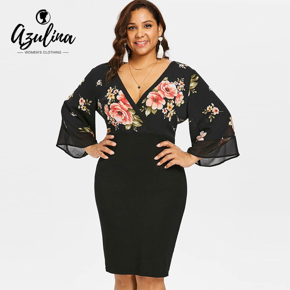 a34700e77641c AZULINA Plus Size Bell Sleeve Low Cut Floral Bodycon Dress Women Plunging  Neck 3/4