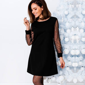 Anself Women Autumn Dress Pearls Beading Sheer Mesh Long Sleeve Female Dress Tunic O Neck A Line Elegant Party Dresses Black/Red-lilugal