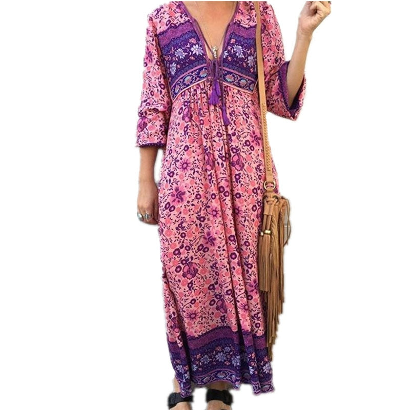 Boho Dress Chic Floral Print Cotton Maxi Dess V-neck Long Sleeve Tassel Women Dresses 2017 Autumn Bohemia Femme Dresses-lilugal