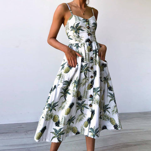 Boho Floral Print Summer Dress Women V Neck Pockets Sleeveless Midi Dresses Female Sunflower Pleated Backless Button Sexy Dress-lilugal