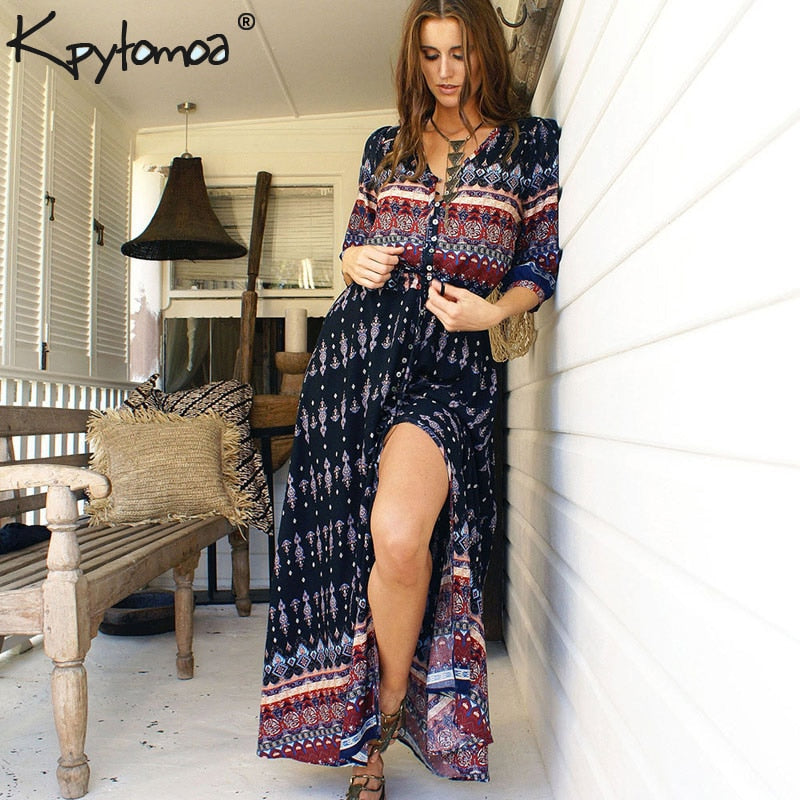 5efb5d3390916 Boho Vintage Floral Print Long Dresses Women 2019 Fashion V Neck Summer  Beach Maxi Dress Robe