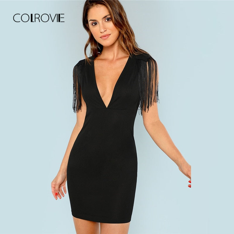 9e8012a98f COLROVIE Black Solid Deep V Neck Fringe Embellished Sexy Dress 2018 Autumn  Tassel Party Dress Vintage