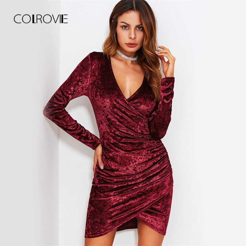 a60dab7cd7c COLROVIE Crushed Velvet Sexy Ruched Dress Bodycon Women Overlap Wrap Party Dresses  Fall Fashion Hi-