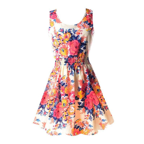 Casual Summer Chiffon Dress Women Clothes 2018 Sexy Floral Short Beach Dresses Korean Elegant Vestido De Festa Verano Robe Femme-lilugal
