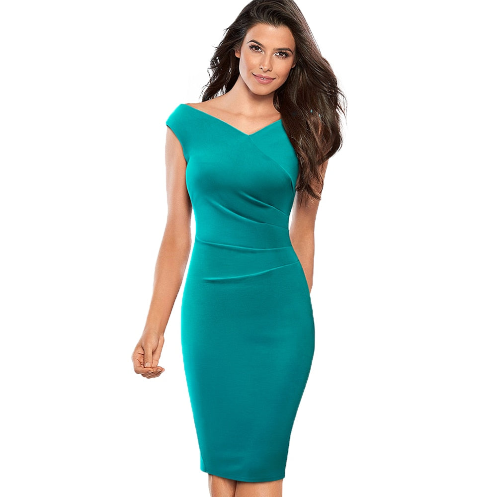 8abe8afd19fd Casual Women Office Work Sheath Pencil Dress Elegant V Neck Bodycon Slim  Summer Dress EB440-