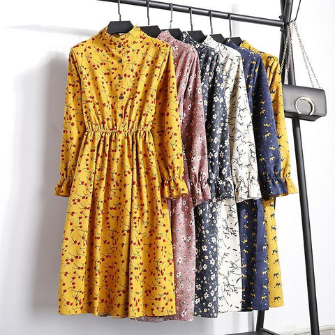 Corduroy High Elastic Waist Vintage Dress A-line Style 2018 Winter Women Full Sleeve Floral Print Dresses Feminino 23 Colors-lilugal