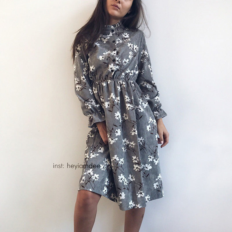 Corduroy High Elastic Waist Vintage Dress A-line Style Women Full Sleeve Flower Plaid Print Dresses Slim Feminino 18 Colors-lilugal