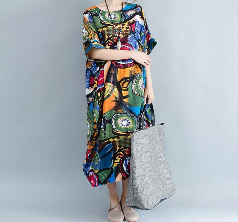 DIMANAF Women Dress Plus Size Summer Pattern Print Linen Colorful ...