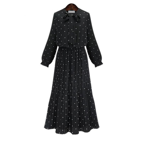 [EAM] 2019 New Spring Round Neck Long Sleeve Solid Black Chiffon Dot Loose Big Size Dress Women Fashion Tide JA23601M-lilugal