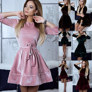ELSVIOS Women Retro Velvet Dress 2018 Korean Style Autumn Winter Party Dresses Casual Three Quarter Elegant Mini Dress With Belt-lilugal