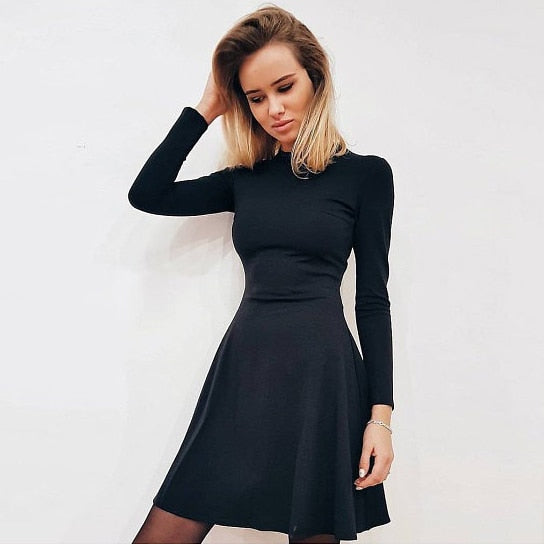 Fall Fashion 2018 Women Long Sleeve Bodycon O-neck Casual Dress Winter Vintage Sexy Mini Party Dresses Autumn Clothes Vestidos-lilugal