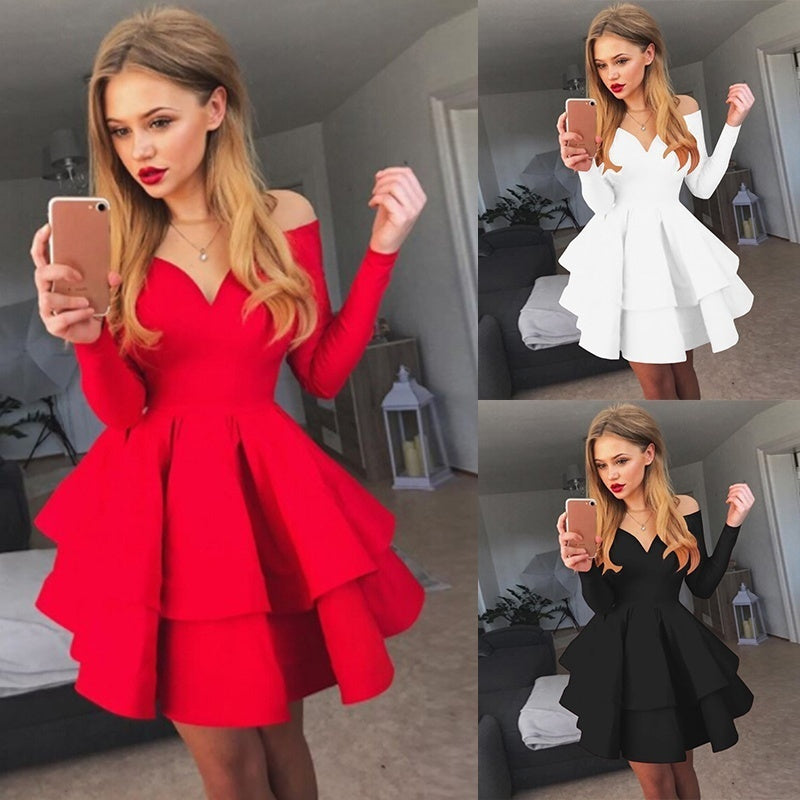 Fashion Women Summer Dress Cute Off Shoulder Long Sleeve Dress Feminine Sexy V Neck Pure Color Partyt Dress-lilugal