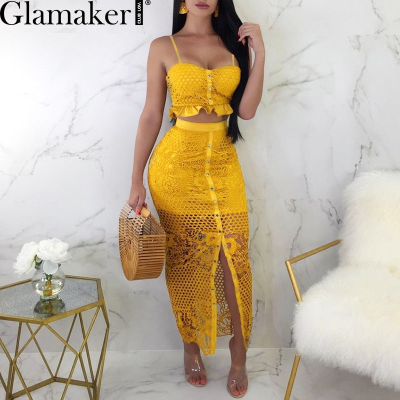 a602c34d25714 Glamaker Hollow out mesh split two-piece suit dress Christmas fitness  ruffle button sundress Women