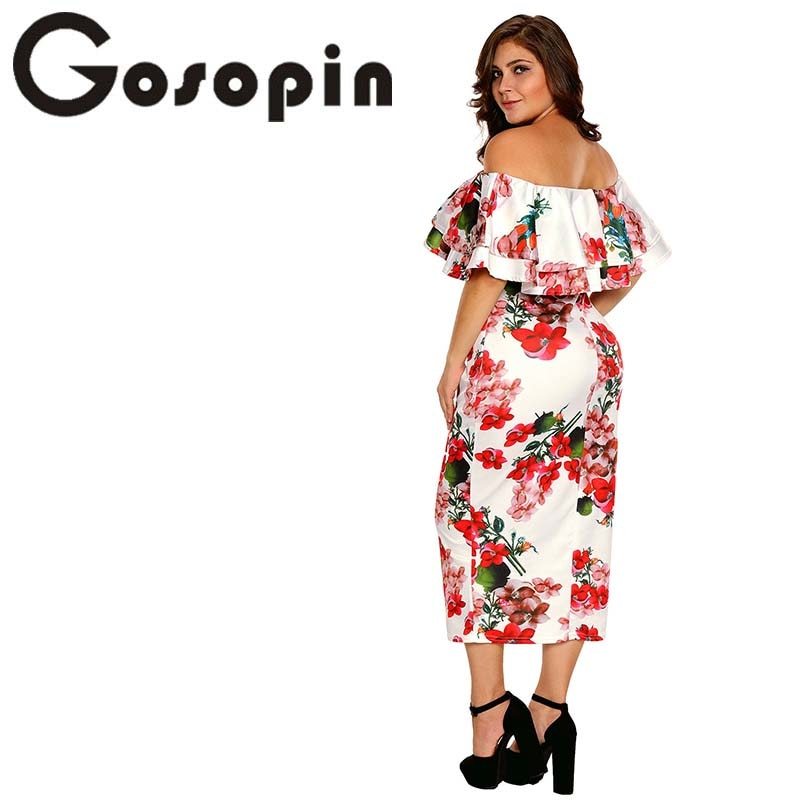 63a21cd84c00 Gosopin Off Shoulder Dresses Summer Floral Ruffle Elegant Party Bodyco –  lilugal