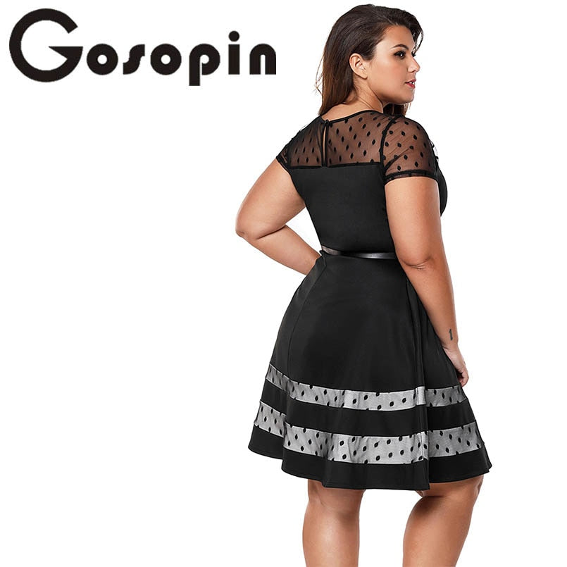 a76d4eed6ff7 Gosopin Plus Size Vintage Dress Office Ladies 2018 New Fashion Summer –  lilugal