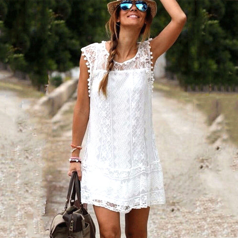 Hot Summer beach Dress Sexy Women Casual Sleeveless Beach Short Dress Tassel Solid White Mini Lace Dress Plus Size-lilugal