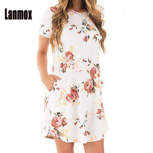 Lanmox Floral Print Dress Women Summer Dresses Short Sleeve Casual Beach Vestidos Female Robe Pockets Flowers Woman Sundress-lilugal
