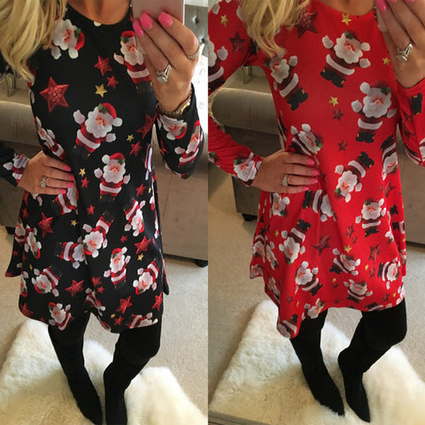 Large Size Print Dress For Women 2018 Autumn New Christmas Cartoon Casual Dresses Long Sleeve Mini Dress Plus Size S-5XL On Sale-lilugal