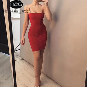 NewAsia Garden Double Layered Cotton Bodycon Dress Sexy Summer Dress Tank Sleeveless Party Dress Club Bandage Dresses Vestidos-lilugal